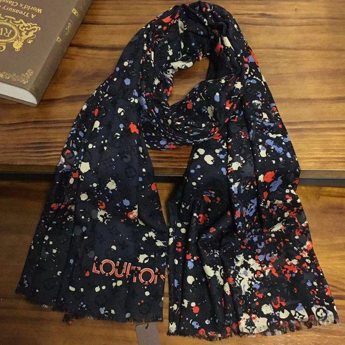 Nuovo stile di marca colore nero buona qualità materiale 100% cashmere sciarpe lunghe stampa sottile e morbida per le donne taglia 180 cm -105 cm