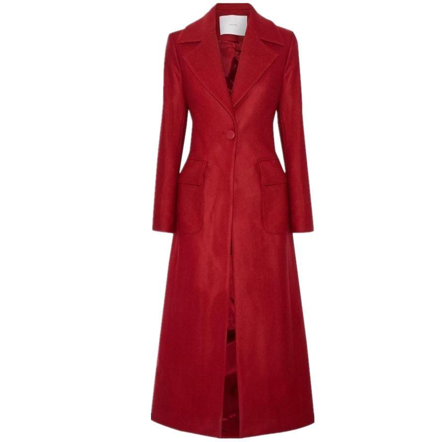2018 moda invernale risvolto rosso Slim addensare lana caldo misto pulsante cappotto sola mano lunga delle donne di lana