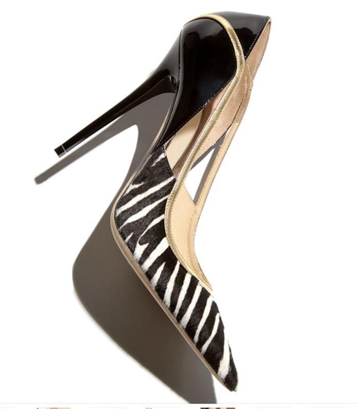 Neue Mode Super High Heel Stilettos sexy spitz Zehe Pferd Lackleder Patchwork High Heels Pumps ausgeschnitten Frauen Schuhe