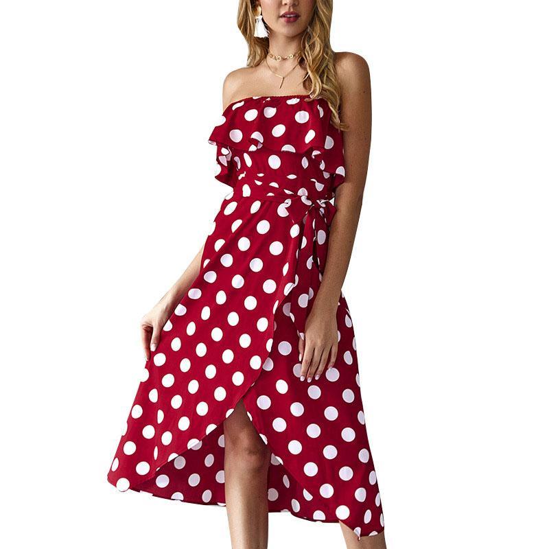 Strapless Ruffle Split Dress Women Vacation Beach Summer Boho Vintage Party Sexy Mid-Calf Dress Beach Dot Print Sundress GV288