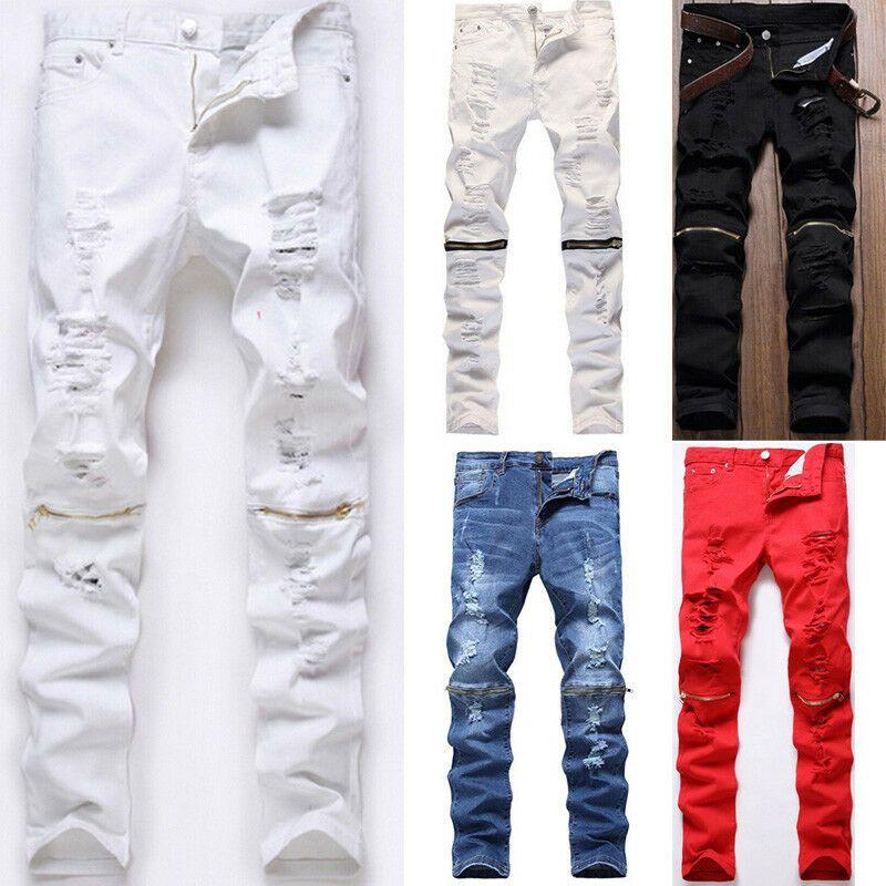Hommes Skinny Slim Jeans Pantalon Long Au Genou Zipper Denim Jeans Homme Solide Détruit Pole Frayed Pencil Pantalon Taille 28-38