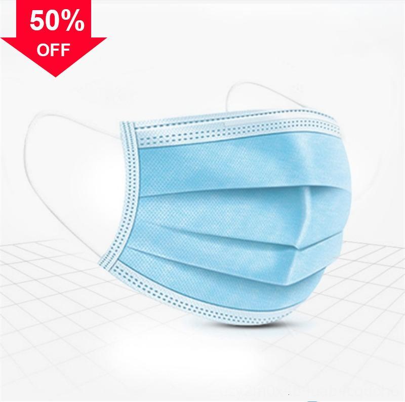 H0juA a 3 strati Vendita antipolvere maschere per il viso non tessuto Top Bocca PM2.5 sicurezza Uomini e Anti maschera inquinamento Donne monouso 50pcs