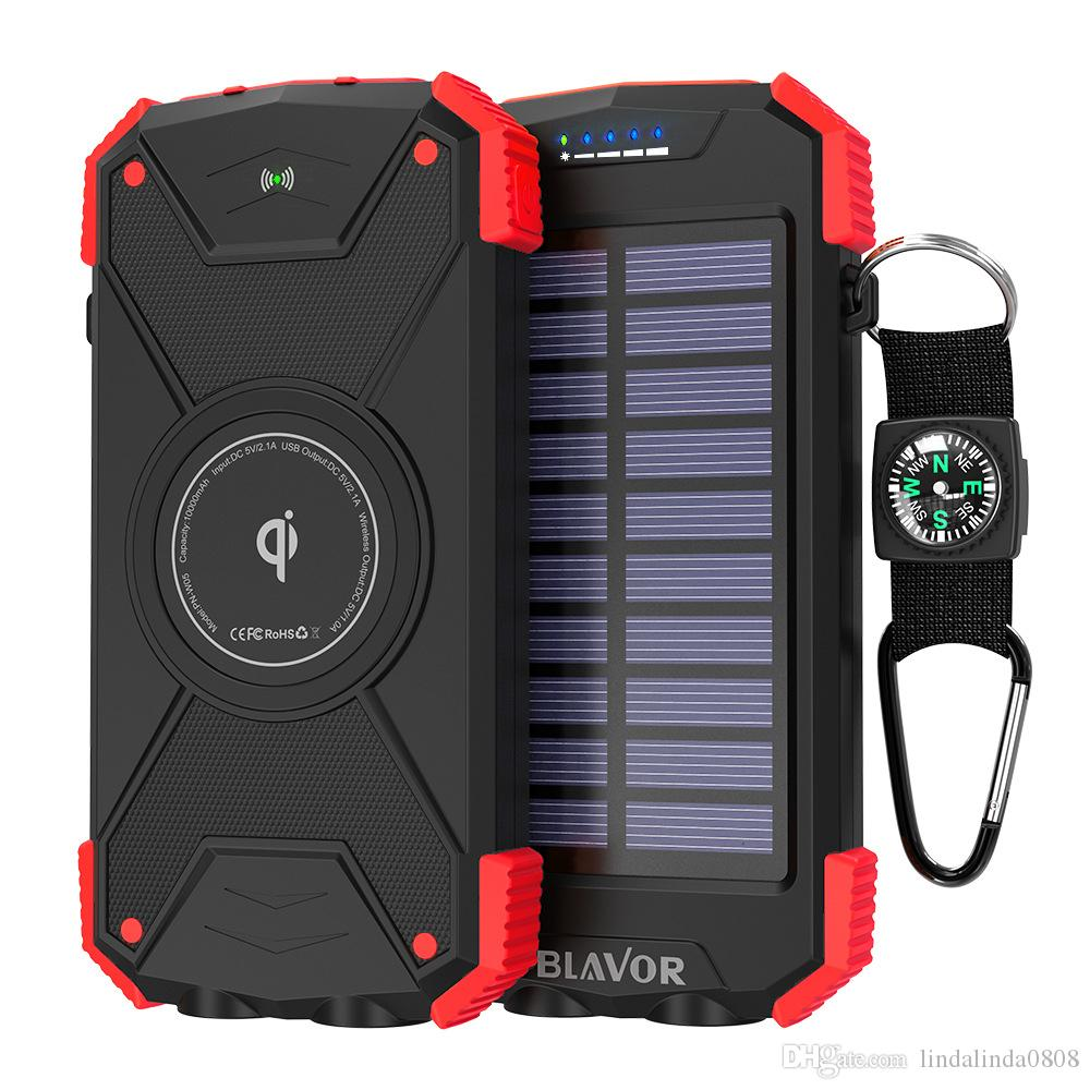Hot Sale New 15000mAh Solar Power Bank Dual LED Flashlight Double Doorway Wireless Portable Battery Proof D 'Compass Water