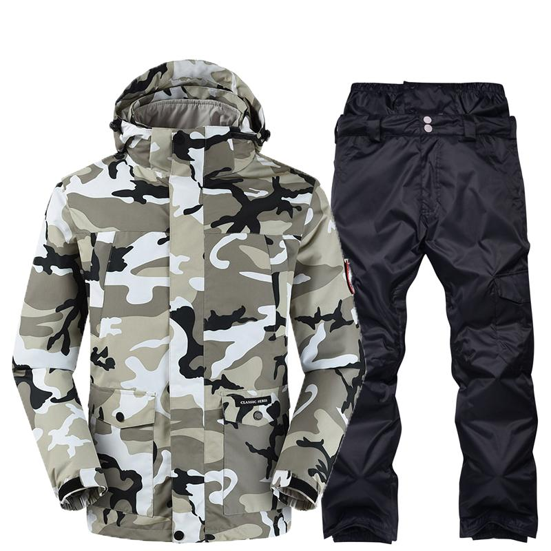 Ski Suit Men Winter Waterproof Coat High-Quality Snowboarding Detachable Three-in-one Camouflage Ski Sets Male New Brand