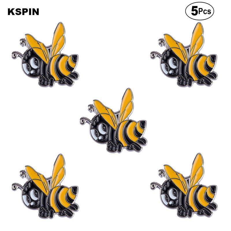 Güzel arı Broş Yaka Pin Bayrak rozeti Broş iğneler rozetleri 5 adet bir Lot