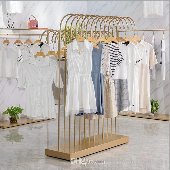 Bar store store rack Abbigliamento Abbigliamento Abbigliamento Pavimento Piano Golden Simple Display Racks Double Bent Hanger Scaffale Parallel Coat Side Intermedio FFLPF