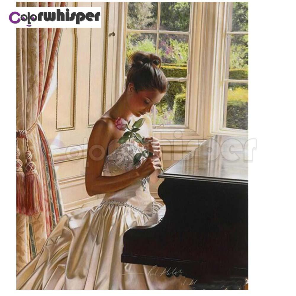 Diamond Painting Full Square/Round Drill Beauty Girl Piano 5D Daimond Painting Embroidery Cross Stitch Crystal Mosaic Pic Z637