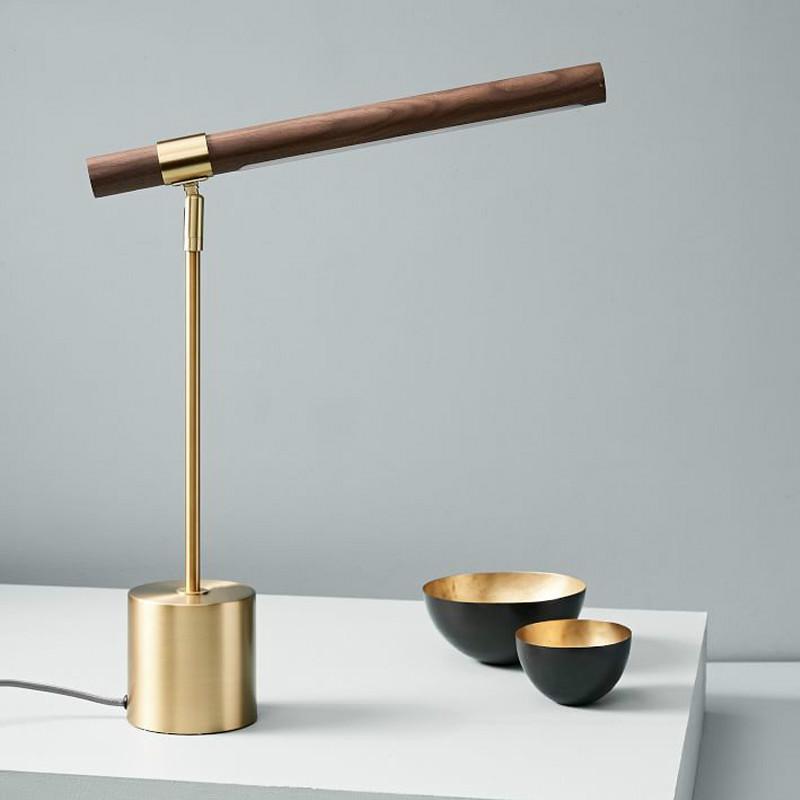 الشمال مكتب الحد الأدنى الخشب الحبوب النحاس أضواء LED المصمم الإيطالي نوم السرير مصباح طاولة فاخرة ديكور المنزل ضوء مصباح