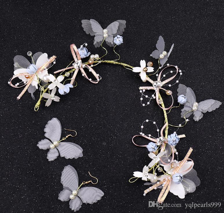 acessórios do casamento headband da flor borboleta headwear conjunto de jóias de noiva