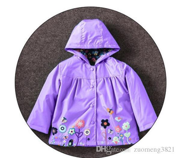 Chaquetas de impresión linda para la chaqueta de manga larga de las muchachas 2019 de los nuevos niños Niños a prueba de viento impermeable de vestir exteriores de las muchachas