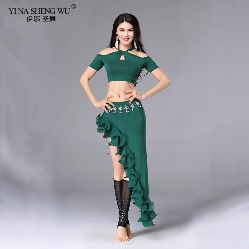 Kadınlar Seksi Belly Dance Pratik Giyim Off-omuz Üst Profesyonel Göbek Dansı Oryantal kostümleri 2adet Set Üstü Etek Yeni