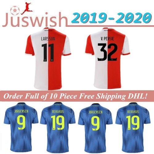 2019 2020 Feyenoord Rotterdam Soccer Jerseys #32 V.PERSIE Home Red White 1920 #9 JORGENSEN Away Blue Soccer Shirts Football Uniforms On Sale From