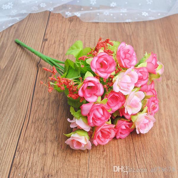 21 diamantes aumentaron pequeña rosa flor artificial de plástico 7 de primavera tenedor