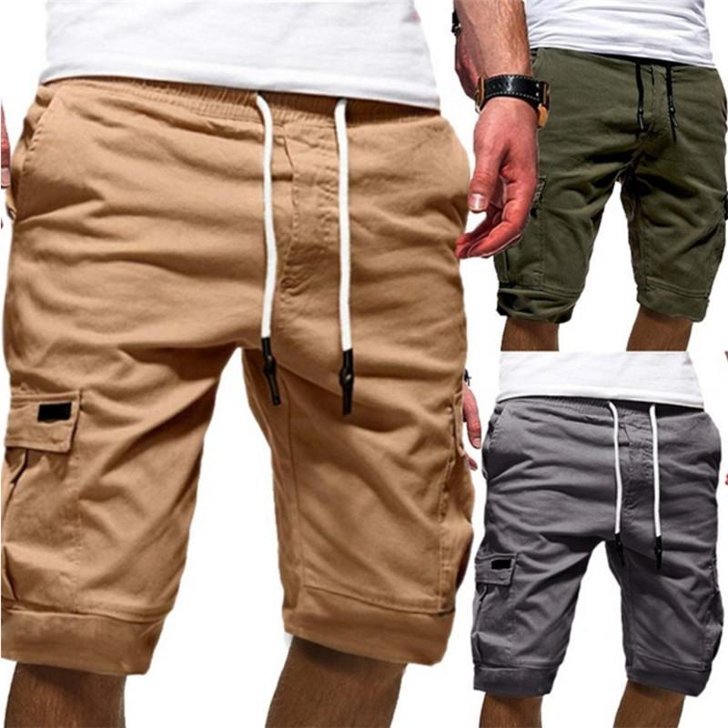 Мужские Дизайнерские Короткие штаны Мода Сплошные цвета штанах вскользь Mens Drawstring брюки