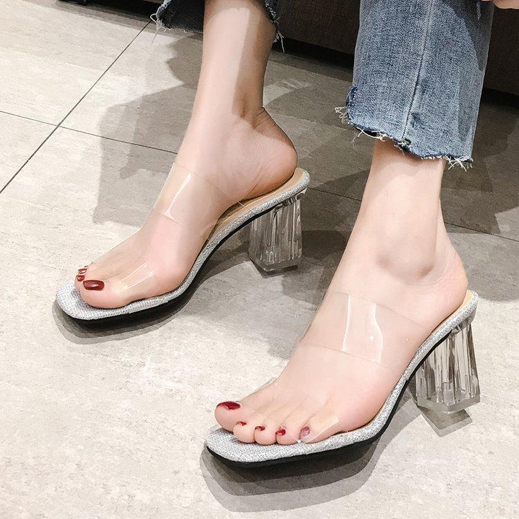 Sexy Clear High Heels Slippers Women