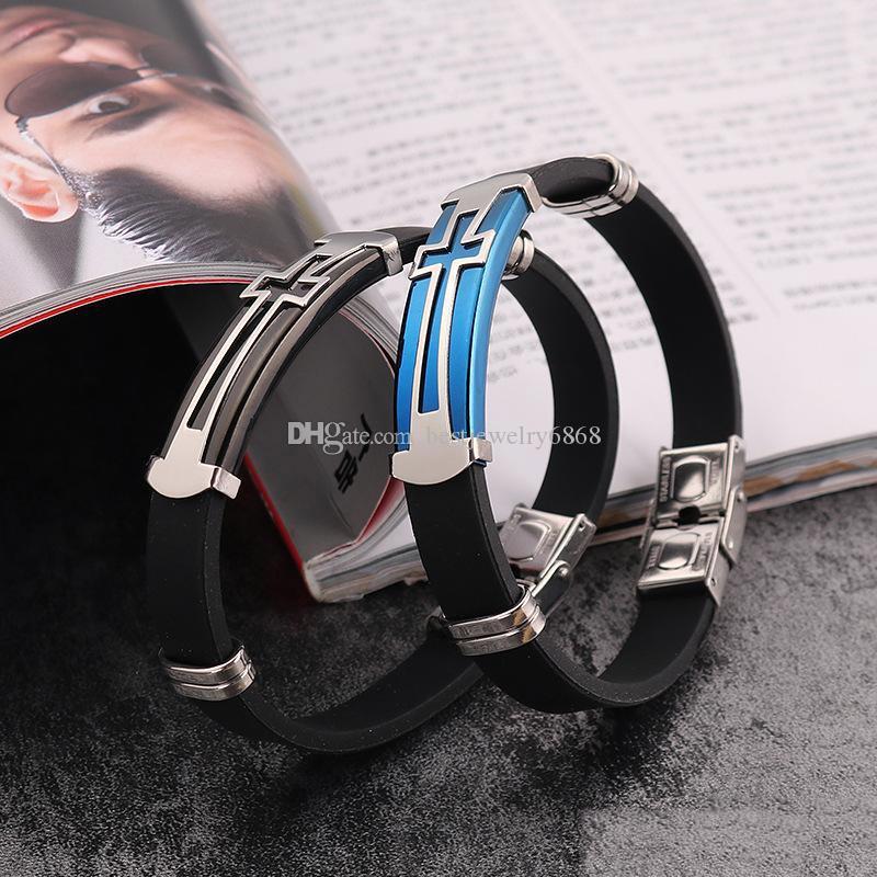 Nouvelle Croix Noir Silicone Wrap bracelets Pour Couple en acier inoxydable Christian Sign Bracelet Femmes hommes Bijoux De Mode Cadeau