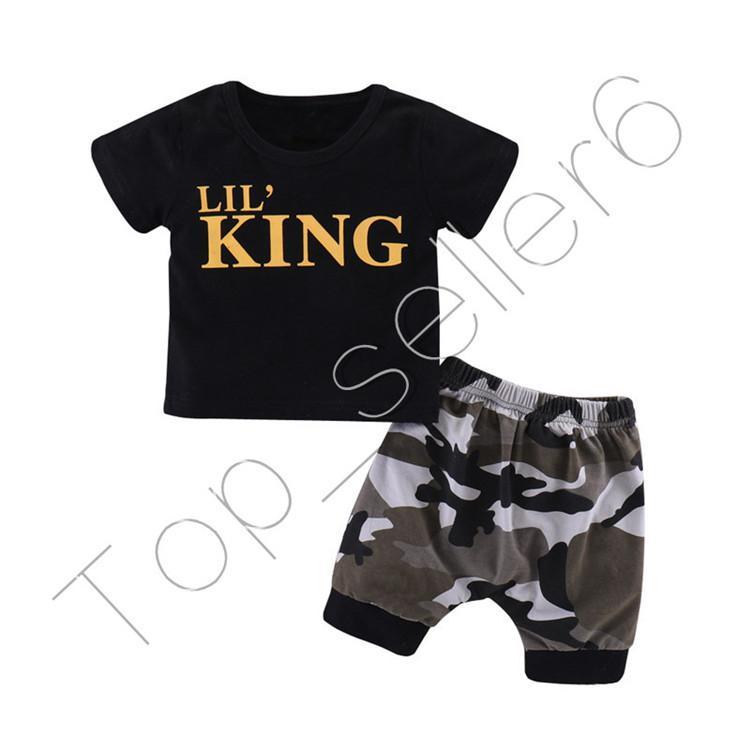 Sleeve Verão letras do bebê Rei Preto Curto T-shirt Camuflagem Shorts Meninos Tops T Calças Curtas Two Piece Set Kids Clothing CZ312