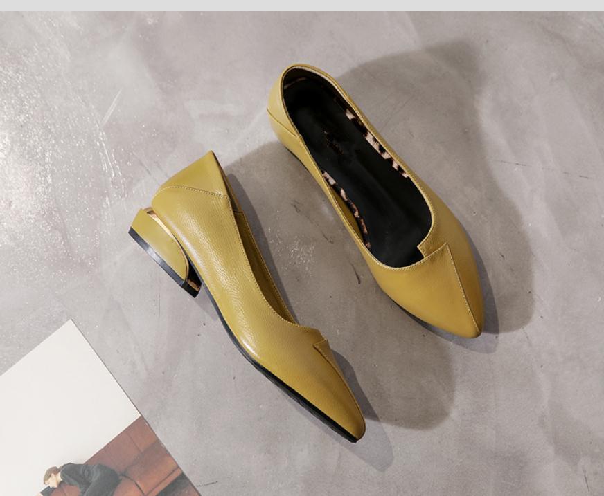 2020 весной и осенью с обувью Нового стиля моды Среднего каблуком Грубых пятками заостренного конца женщинами в @ MQWBH759