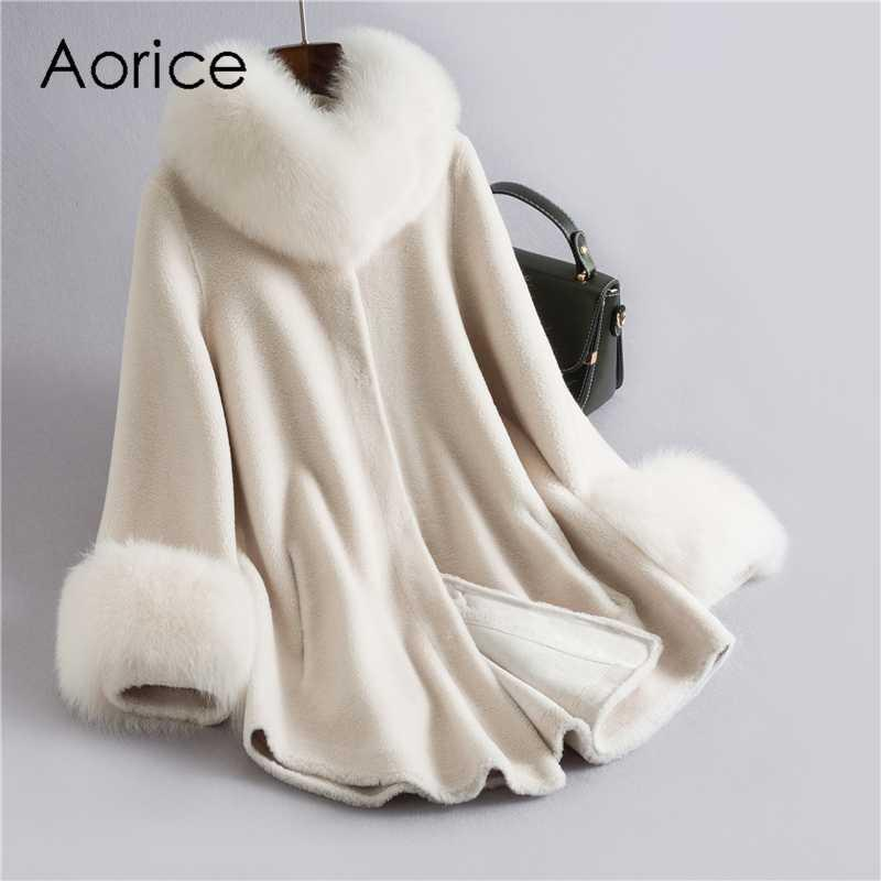 Real sheep fur coat jacket overcoat women's winter warm genuine fur coats overcoat H632