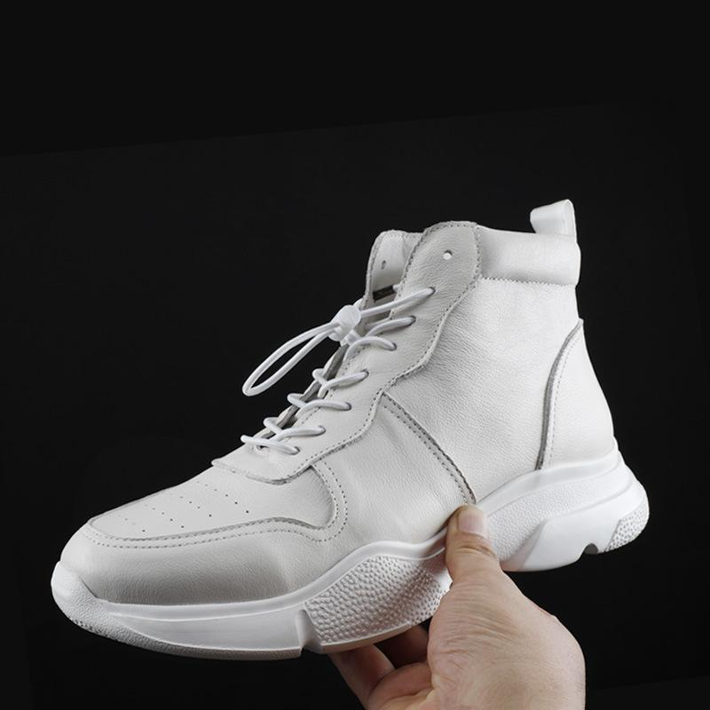 2019 Brand Korean Fashion Genuine Leather Boots Shoes Men Real Leather White Black Casual Sneakers Lace Up Zipper Ankle Boots