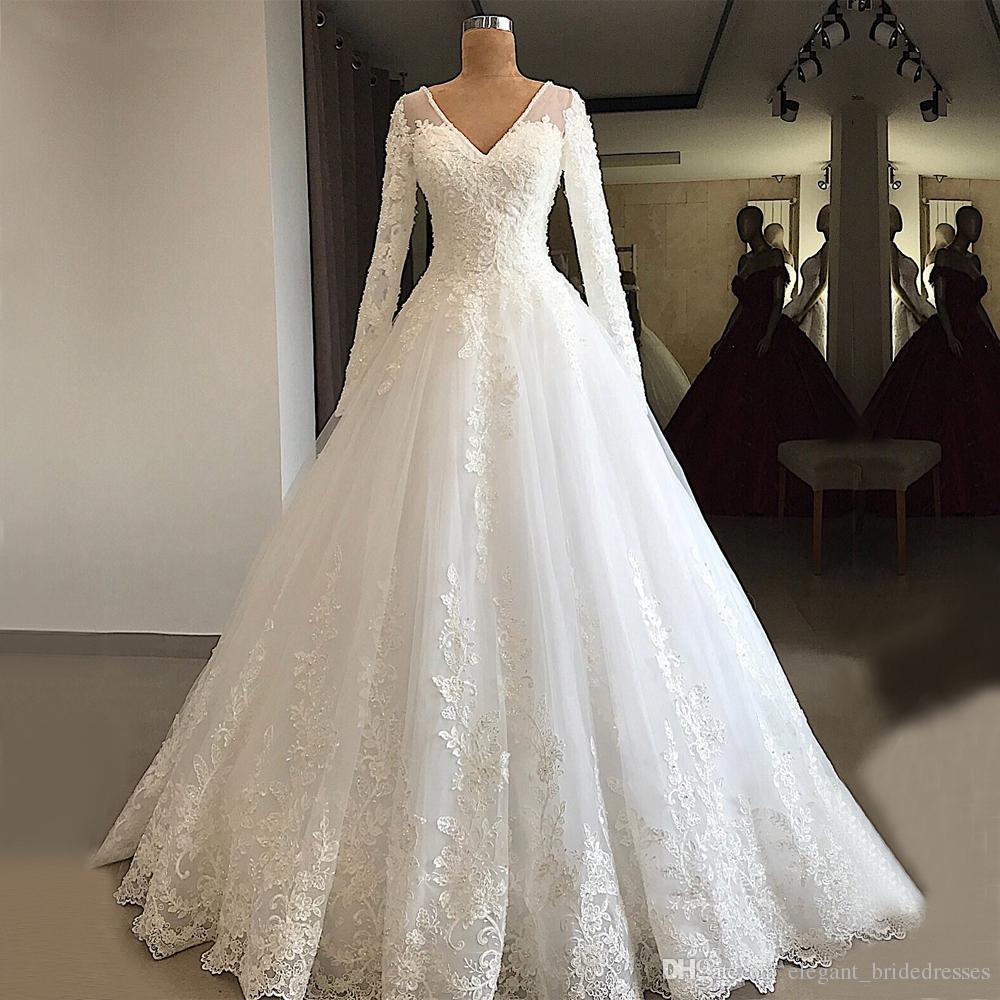 Gorgeous una línea de vestidos de novia de manga largas 2019 vestidos de boda blancos del Líbano de novia con cuello en V con cuentas de encaje vestidos de boda baratos
