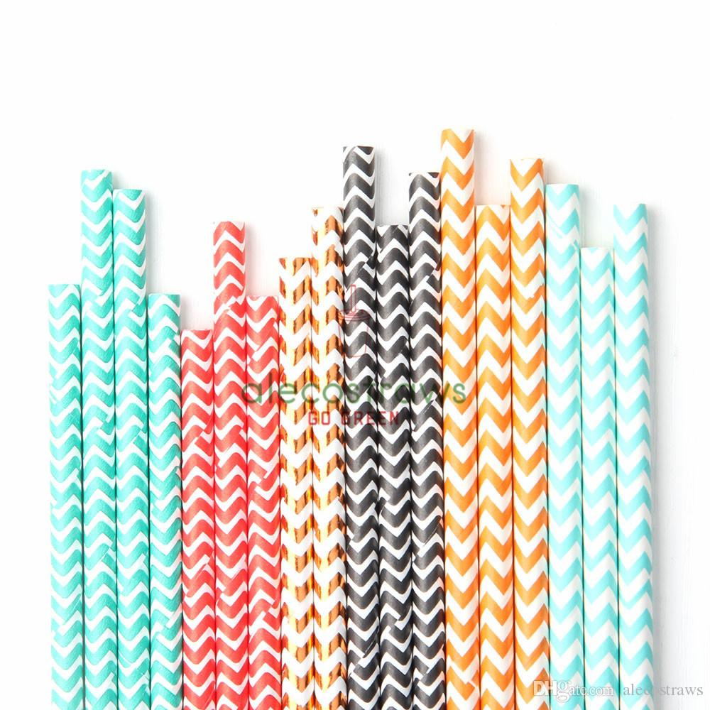 25pcs / lot 종이 빨대 도매 Chevron 직선 패턴 줄무늬 폴카 도트 환경 결혼 음주 빨대 어린이 생일 파티