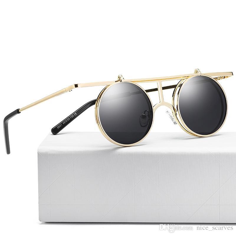 Женщины поляризованные очки круглый объектив металлический каркас ретро солнцезащитные очки Lady Punk Стиль Over Флип Солнцезащитные очки