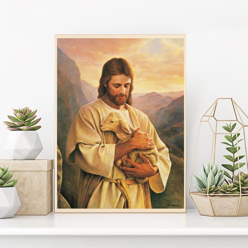 Tuval Modern Sanat Dekoratif Duvar Resimleri Ev Dekorasyon İsa Kuzu Poster Buen Pastor The Good Shepherd Tablolar
