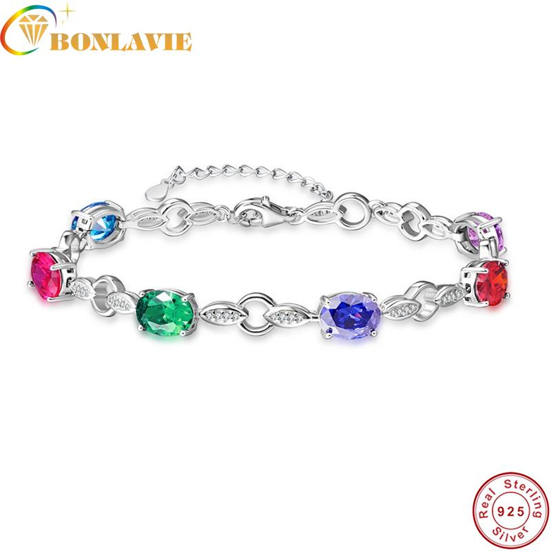BONLAVIE Natural garnet, blue topaz, amethyst 925 silver bracelet, 6 pieces of oval 6mm*8mm , beautiful color and fashion design