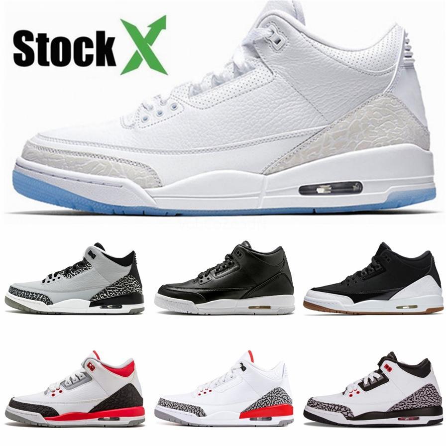 2020 Лучший новый 3 разводят и. о. черный красный низкая мужские баскетбол обувь спортивная кроссовки тренеры мужчины 3С открытый топ качество размер 7-13 7X0Z0#876