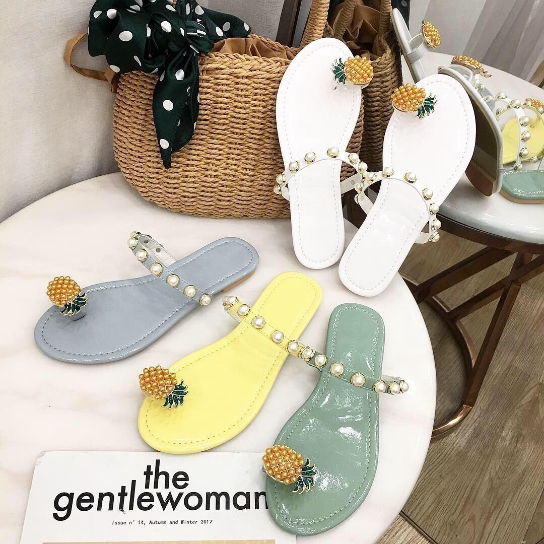Pretty2019 Perle Ananas Sandales À Fond Plat Autres Vêtements Set Toe Sandy Beach Femme Pantoufle