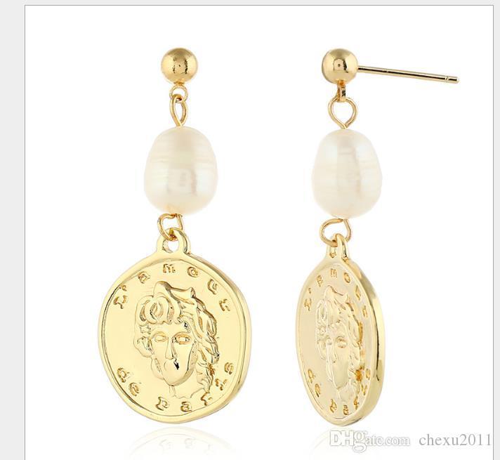 Hong Kong Wind Coin Earrings Female Korean Retro-ancients Like Coins Freshwater Pearl Earrings
