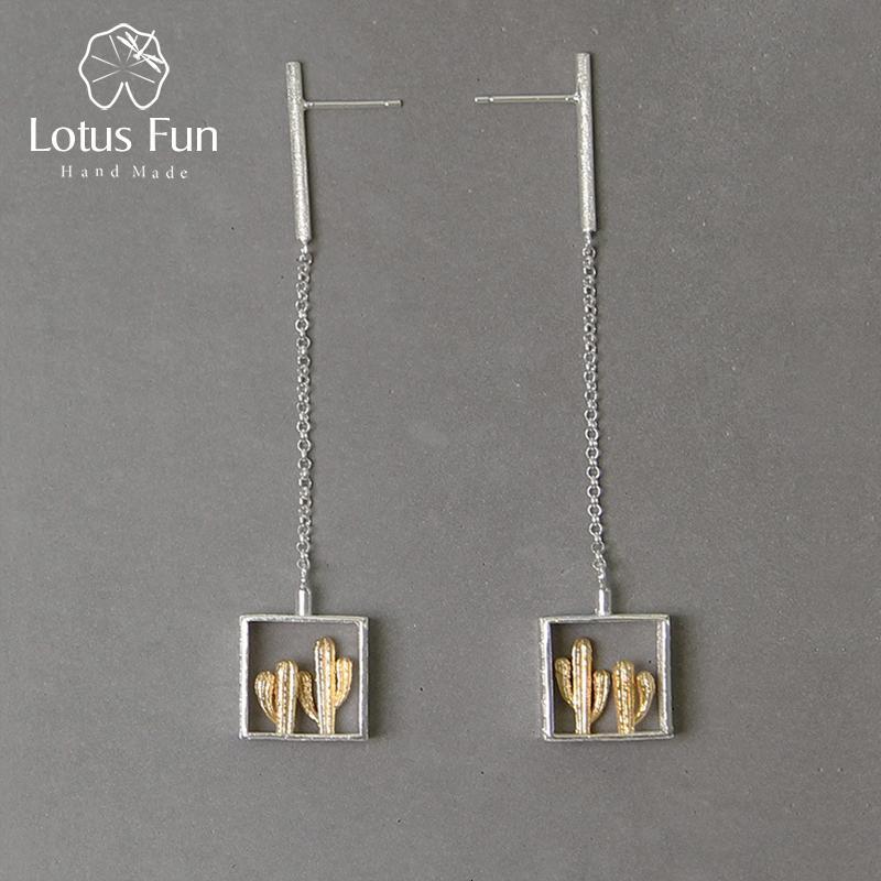 Lotus Fun réel 925 argent à la main fin Sterling bijoux désert série Creative Cactus design Dangle Boucles d'oreilles pour les femmes Bijoux CJ191210
