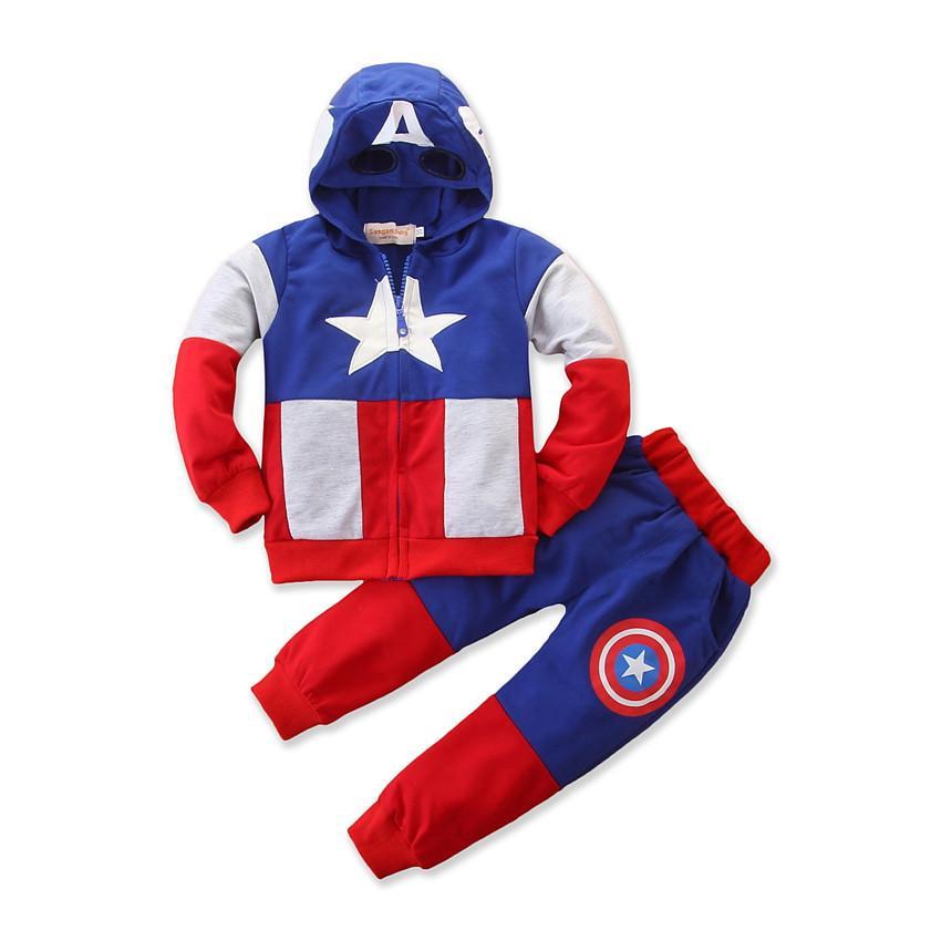 DesignerKid Tasarımcı Giyim Boys Kaptan Amerika Kapüşonlular Suits Tops + Pantolon 2pcs / set Bebek Avengers Superhero Cosplay Kapüşonlular Ceket Pantolon