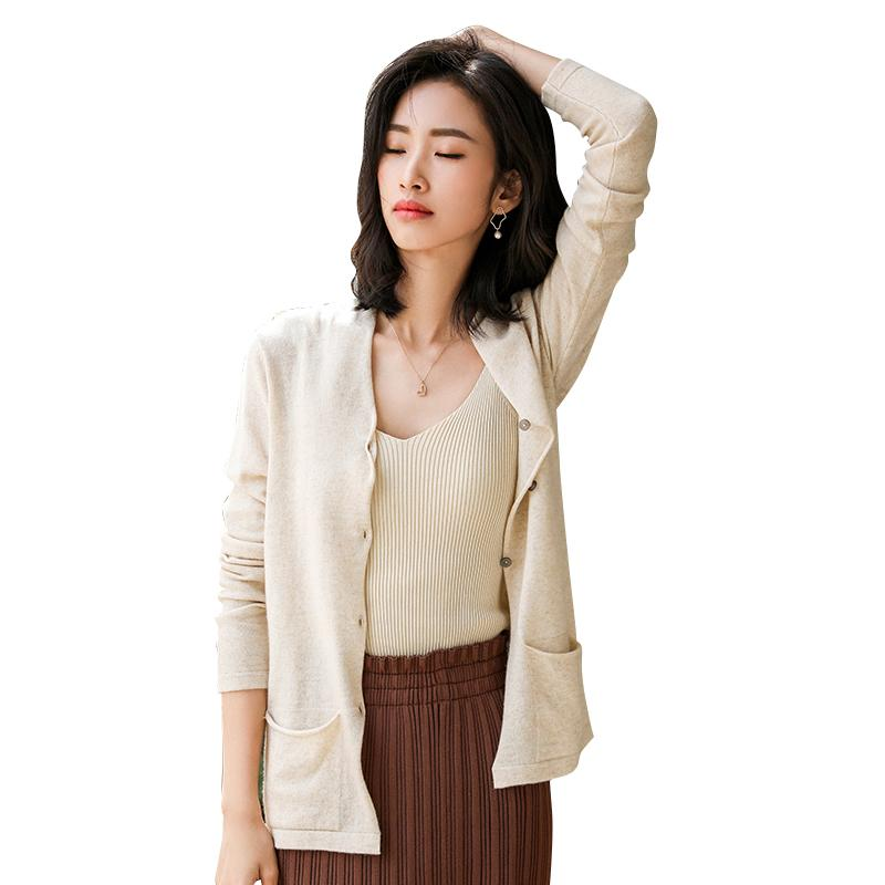 CBF 2019 New Design Cashmere blended Cardigan V collar Pure color Single breasted Low pocket decoration cardigan High-quality