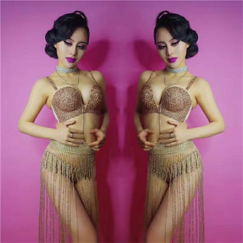 F25 Salão de baile trajes do dançarino do pólo partido clube usa biquíni conjunto de sutiã tassel passarela desempenho vestido usa dj pano outfit bar bodysuit discoteca