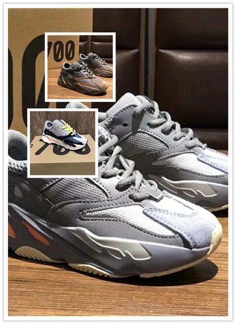 Adidas Yeezy Boost shoes 2019 Bebek 700 Dalga Koşucu Leylak rengi çocuklar Çocuk Koşu ayakkabıları büyük oğlan kız Toddler Gençlik eğitmenler Kanye West Çocuk sneakers