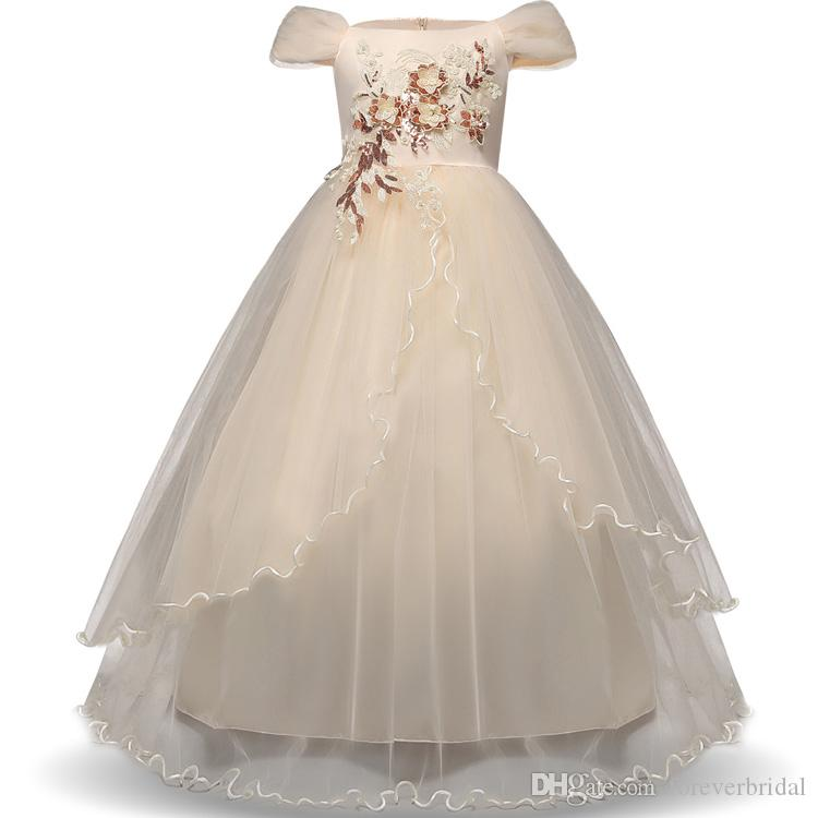 Latest Cute Bateau Flower Girls Birthday Dresses Ball Gown Zipper Back Sleeveless With Bow Sashes Kids Girls Pageant Gowns