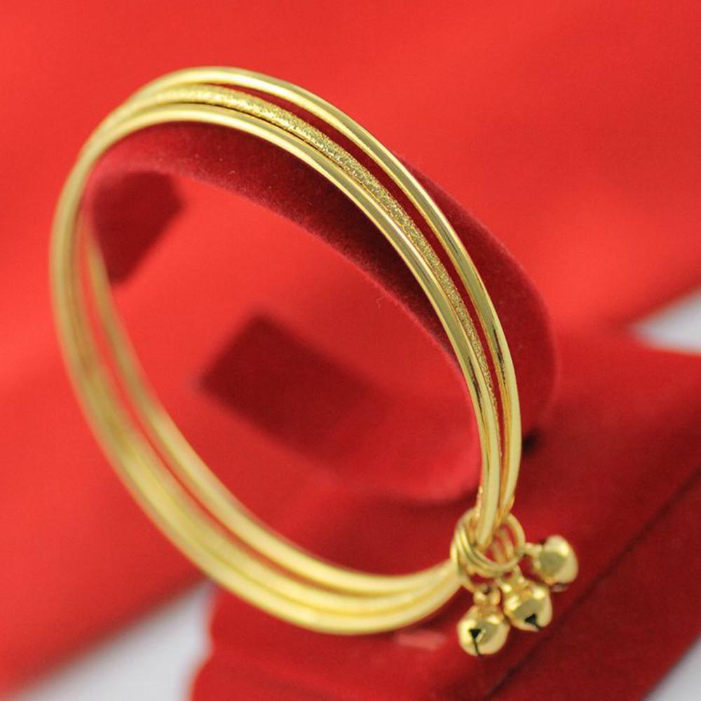 3-pezzi Insieme sottile braccialetto oro giallo 18k riempito braccialetto delle ragazze delle donne con campane Semplice Accessori di stile