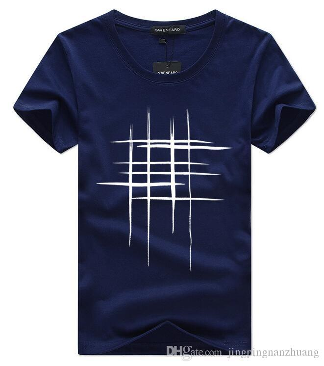 Camisetas de hombre Camiseta de manga corta de verano para hombres Simple línea de diseño creativo con estampado cruzado Camisetas de marca de algodón Hombres Top Tees
