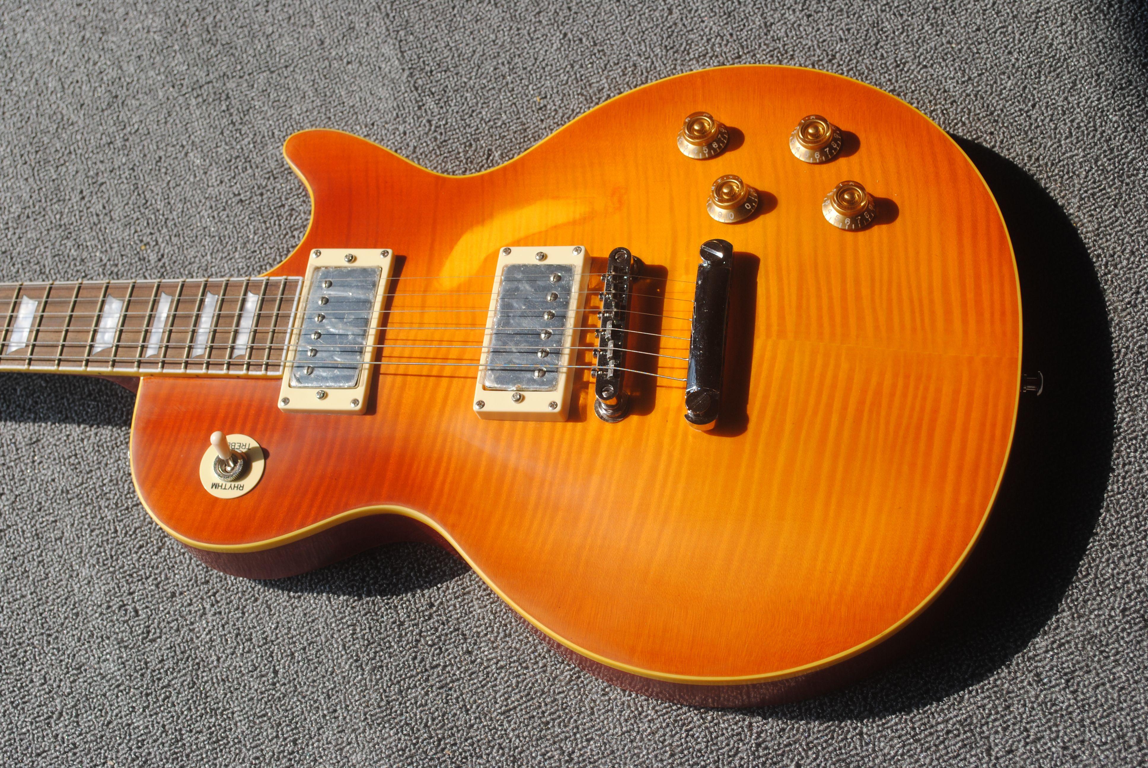 Hecho en China, la nueva guitarra de Tiger Top, Amarillo LP, puede personalizar todo tipo de guitarra eléctrica, entrega gratuita 112