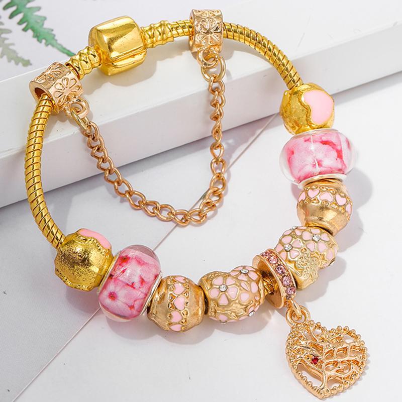 TOGORY Кристалл Женщины браслет Уникальный цвет золота цепи браслеты шарма для женщин DIY шариков браслет подарка ювелирных изделий