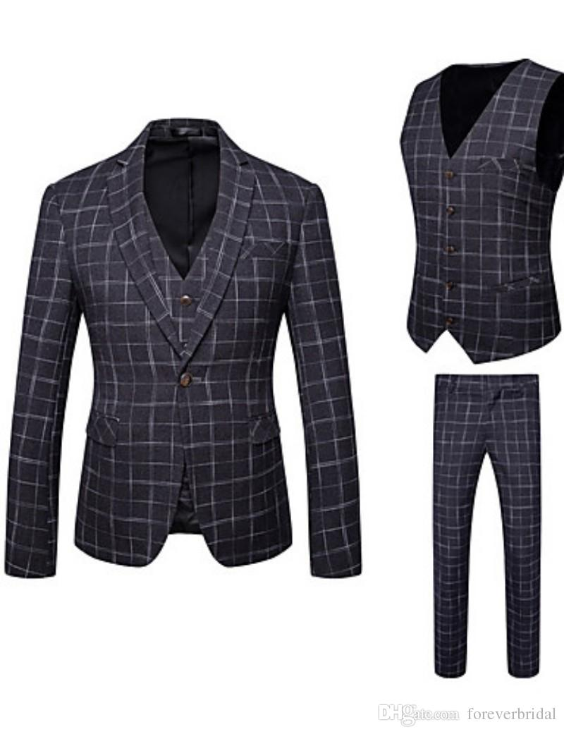 2019 Black Check Suits Men Fashion Wedding Tuxedos 3 Pieces (Jacket+Vest+Pants) Formal Business Custom Made Blazer