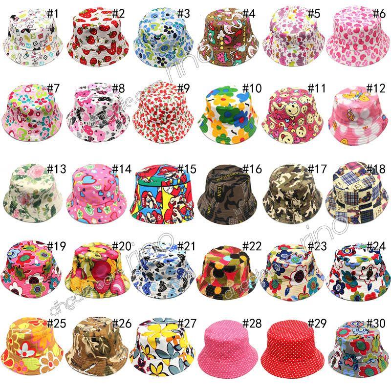 Yaz şapka Çocuklar Pamuk Bere Kova Şapka Rahat Çiçek Güneş Baskılı Havzası Tuval Topee Bebek Şapkaları 30 Renkler