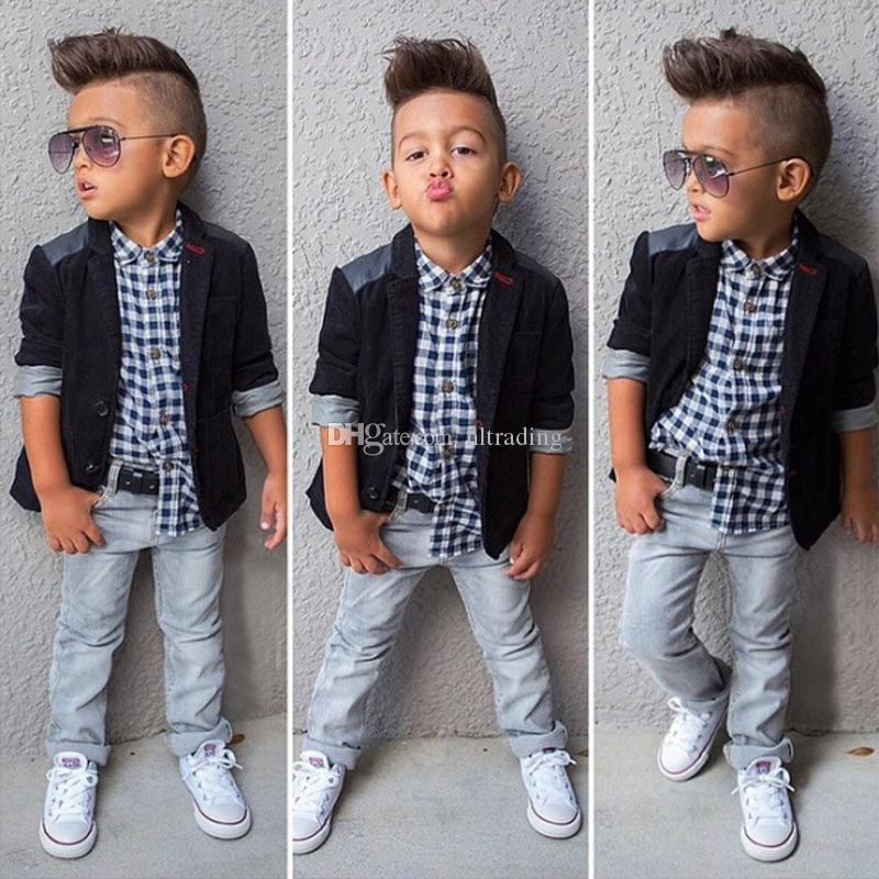 Baby Boys Gentlemen Costume Costume Manteau + Chemise à carreaux + Jeans 3 pièces Vêtements Ensembles de vêtements Enfants Designer Boutique Vêtements Enfants Tenue C6285