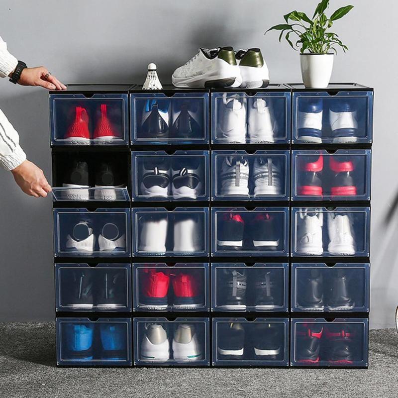 Yeni kapaklı istiflenebilir toz geçirmez ayakkabı saklama konteyner ekran kutusu organizatör