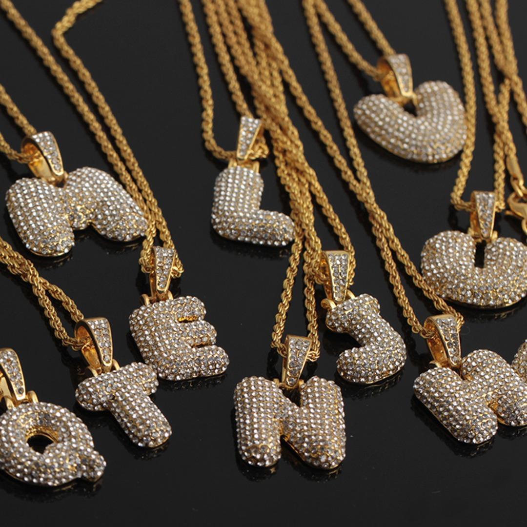 Shellhard CZ Zirconia di cristallo di alfabeto collana per gli uomini delle donne di Hip Hop dei monili della catena 26 A-Z lettere Ciondolo Collana con nome in oro