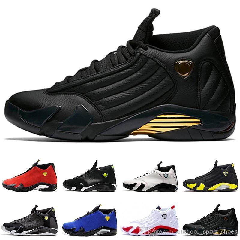 2019 alta calidad 14 14S baloncesto de los hombres zapatos 14s Fusión Varsity Red Suede Trueno Negro XIV Playoffs zapatillas de EE.UU. tamaño de 8-13 para los hombres