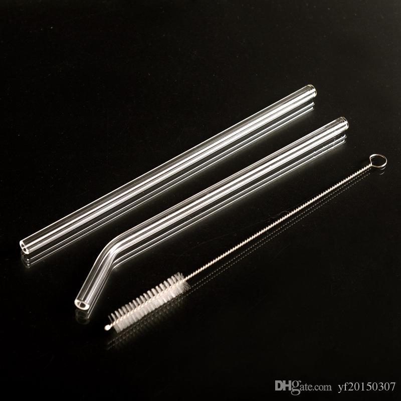 Pajitas reutilizables de paja de vidrio con pinceles limpios para vasos de cóctel Tamaño 200mm * 8mm