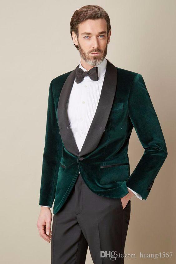 Moda One Button Scuro Verde Velluto Sposo Smoking Dello Sposo Risvolto Groomsmen Uomo Abiti Prom Blazer (Giacca + Pantaloni + Cravatta) 046